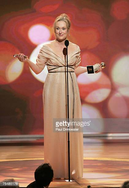 Meryl Streep winner Best Performance by an Actress in a Motion Picture Comedy or Musical for 'The Devil Wears Prada' during 64th Annual Golden Globes...