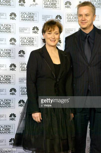 Meryl Streep winner of the Golden Globe for Best Performance by an Actress in a MiniSeries 'Angels in America' and Tim Robbins winner of Best...