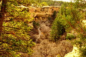 Mesa Verde National Park is in southwest Colorado. It's known for its well-preserved Ancestral Puebloan cliff dwellings, notably the huge Cliff Palace.