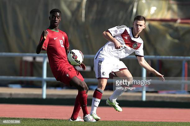 Mesaque Dju of Portugal challenges Dominik Wanner of Germany during the U16 UEFA Development Tournament match between Germany and Portugal on...