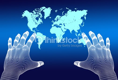 3d mesh hands reaching world map in virtual reality setting stock 3d mesh hands reaching world map in virtual reality setting stock photo gumiabroncs Images