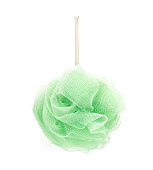 mesh shower sponge aka Bath puff, Bath Body Scrubber Loofah on white background