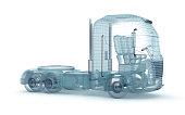 Mesh truck isolated on white. My own design .  3D illustration