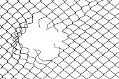 Hole in the wire mesh fence