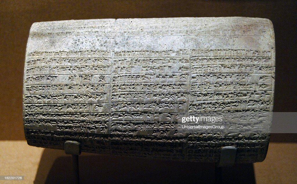 Mesopotamian art NeoBabylonian Cylinder with cuneiform inscriptions of Nebuchadnezzar II listing building activities 6th century BC Ceramic...