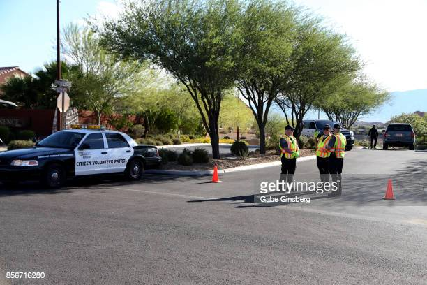 Mesquite Police Department citizen volunteers block access to the Sun City Mesquite community where suspected Las Vegas gunman Stephen Paddock lived...
