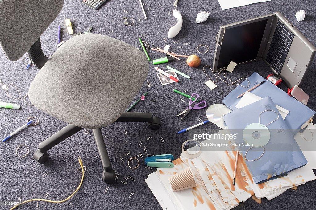 mess on office floor : Stock Photo