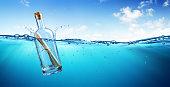 Letter In Glass Bottle In The Sea