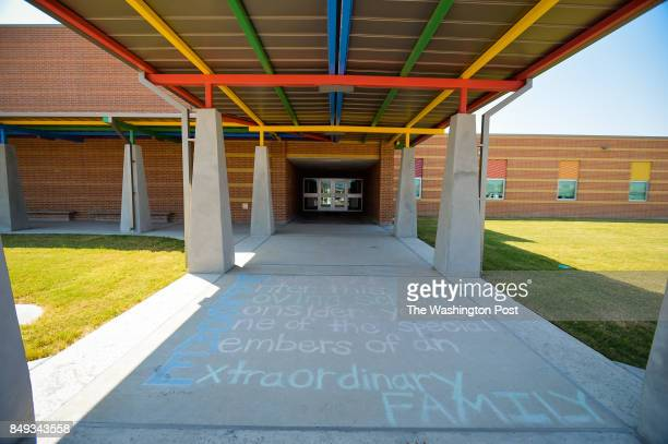 A message in chalk greets displaced students attending East Cliff Elementary School in the GregoryPortland school district September 14 2017 Some...
