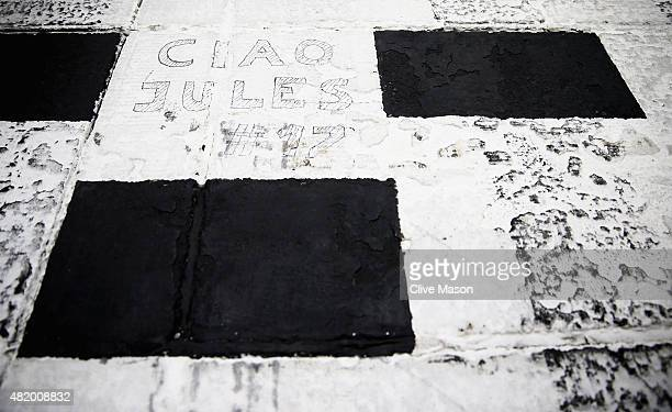 A message in memory of Jules Bianchi is displayed on the track before the Formula One Grand Prix of Hungary at Hungaroring on July 26 2015 in...