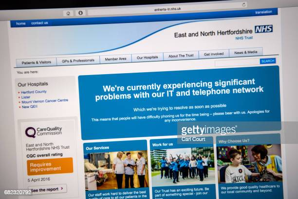 A message informing visitors of a cyber attack is displayed on the NHS website on May 12 2017 in London England NHS hospitals across England have...