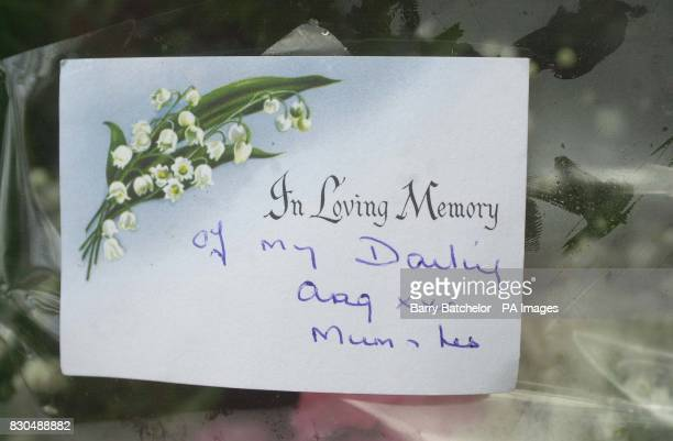 Message on a floral tribute left of the scene of the accident near Richards Castle Shropshire