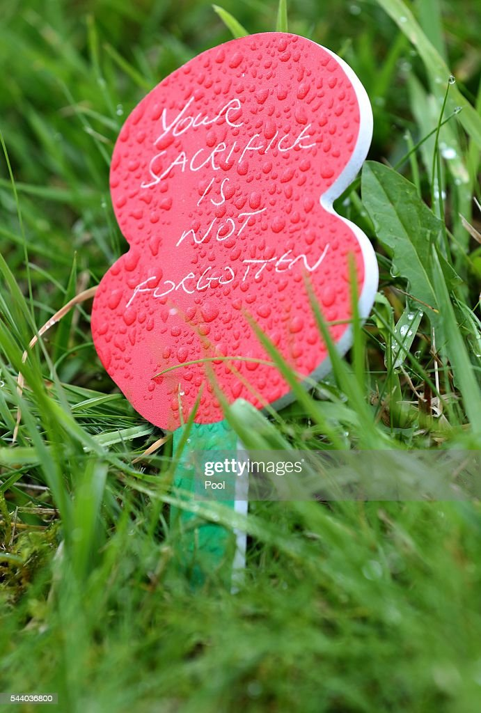 A message on a Poppy outside the Thiepval Museum ahead of the 100th anniversary of the beginning of the Battle of the Somme at the Thiepval memorial to the Missing on July 1, 2016 in Thiepval, France. The event is part of the Commemoration of the Centenary of the Battle of the Somme at the Commonwealth War Graves Commission Thiepval Memorial in Thiepval, France, where 70,000 British and Commonwealth soldiers with no known grave are commemorated.