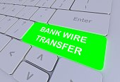 BANK WIRE TRANSFER, message on keyboard, 3D rendering