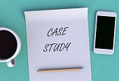 CASE STUDY, message on paper, smart phone and coffee on table, 3D rendering
