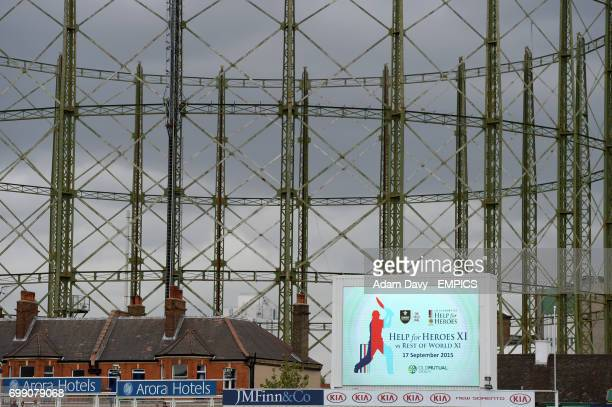 A message on the video screen advertising the upcoming Surrey versus the Rest of the World XI game at the Kia Oval