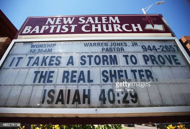 A message referring to a storm is written on the New Salem Baptist Church in the Upper Ninth Ward on August 26 2015 in New Orleans Louisiana The...