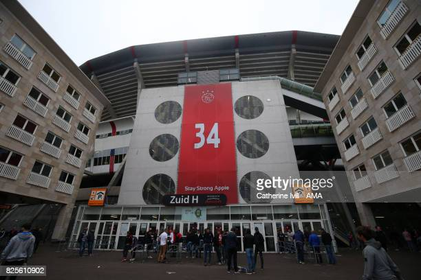 A message saying stay strong Appie in support of Abdelhak Nouri of Ajax before the UEFA Champions League Qualifying Third Round match between Ajax...
