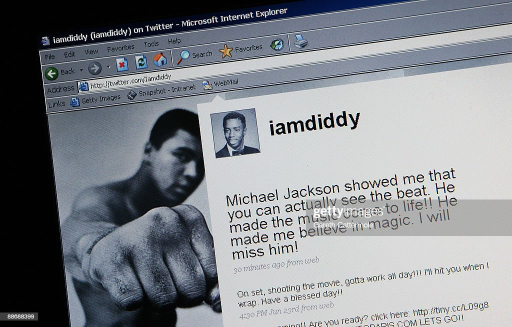 A message understood to be from P Diddy is displayed on Twitter in response to the news that Michael Jackson has passed away on June 26, 2009 in London, England. The iconic pop star, 50, was rushed to the hospital today after going into cardiac arrest.