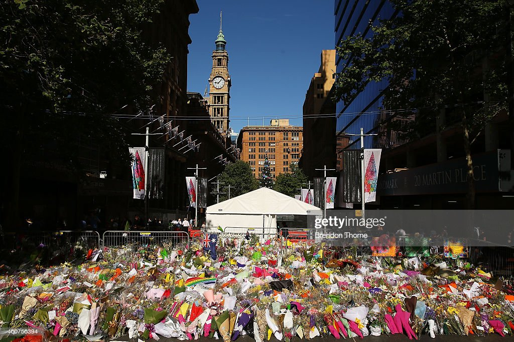 Messages and flowers are placed in respect at Martin Place on December 22 2014 in Sydney Australia A memorial to the victims of a seige at Lindt Cafe...