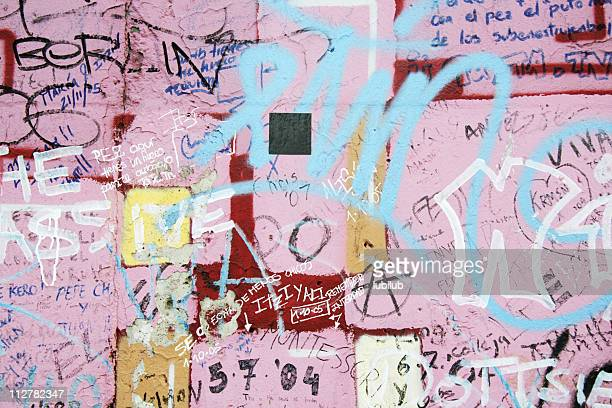 Messages and graffiti on old Berlin wall in Germany