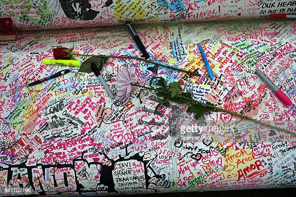 Messages are written on a couch at a memorial down the road from the Pulse nightclub on June 18 2016 in Orlando Florida In what is being called the...