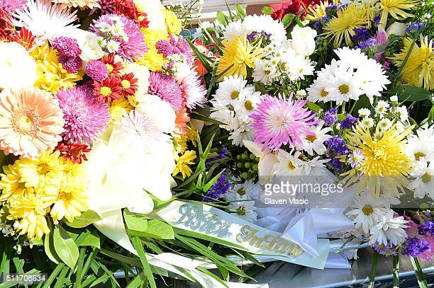 Messages at flower cars are seen outside funeral service for Angela 'Big Ang' Raiola on February 22 2016 in New York City 'Mob Wives' reality star...