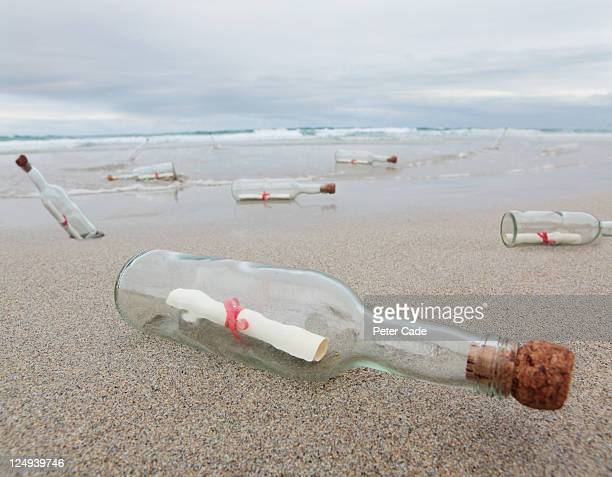 messages in bottles washed up on beach