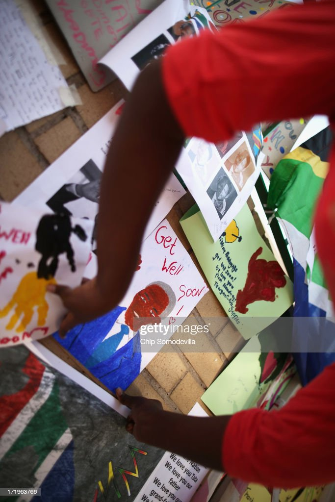 Messages of thanks and hope for former South African President Nelson Mandela continue to pile up outside the Mediclinic Heart Hospital where he is being treated for a recurring lung infection June 30, 2013 in Pretoria, South Africa. The anti-apartheid icon and Nobel Peace Prize laureate has been in the hospital for three weeks where his condition has been described as 'critical but stable.'