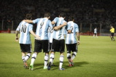 Messi Higuain Di Marian and Lavezzi of Argentina celebrate a scored goal during a match between Argentina and Paraguay as part of the South American...
