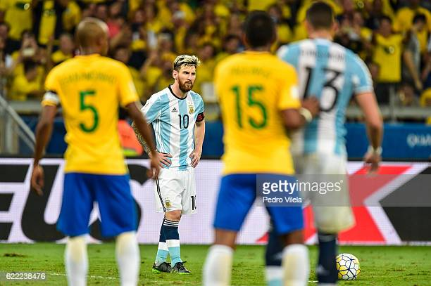 Messi of Argentina a match between Brazil and Argentina as part 2018 FIFA World Cup Russia Qualifier at Mineirao stadium on November 10 2016 in Belo...
