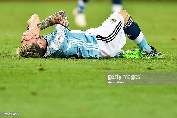 Messi of Argentina reacts during a match between Brazil and Argentina as part 2018 FIFA World Cup Russia Qualifier at Mineirao stadium on November 10...