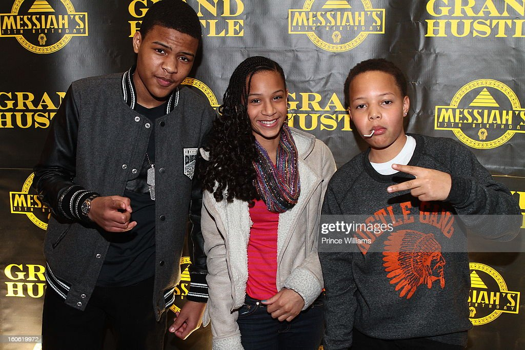 Messiah Harris, Deyjah Harris and Domani Harris attend a birthday party for T.I.'s son Messiah at Buckhead Bottlebar on February 2, 2013 in Atlanta, Georgia.