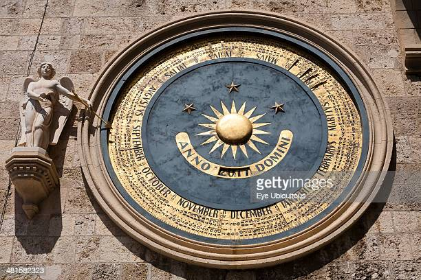 Messina Cathedral Astronomical clock on clock tower Italy Sicily Palermo