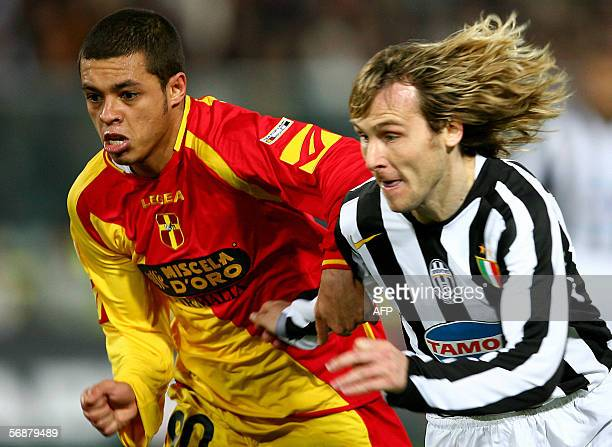 Juventus' forward Nedved fights for the ball with Messina's Rafael during their serie A football match MessinaJuventus at StFilippo stadium in...