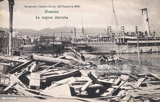 the Customs destroyed by the terrible earthquake of magnitude 72 which counted between 90000 and 120000 victims throughout the affected area Postcard...