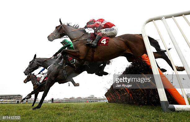 Messire Des Obeaux ridden by Richard Johnson jumps the last alonside Fixe le Kap ridden by David Bass in the Ray Gilpin Victor Ludorum Juvenile...
