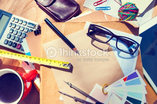 Messy Architect S Table With Work Tools Stock Photo