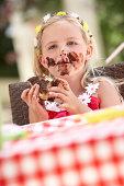 Messy Girl Eating Chocolate Cake