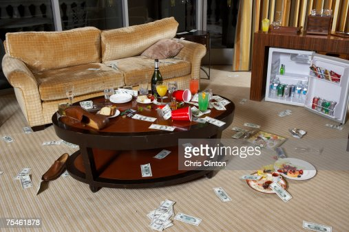 Messy hotel room after party