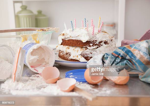 Messy Kitchen with Homemade Birthday Cake