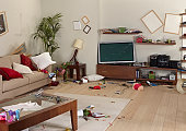 messy living room decoration with broken stuff
