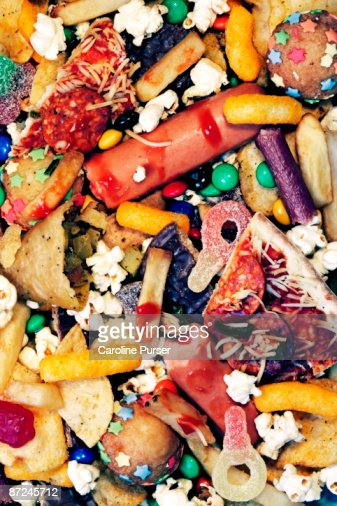 A messy pile of junk food : Stock Photo