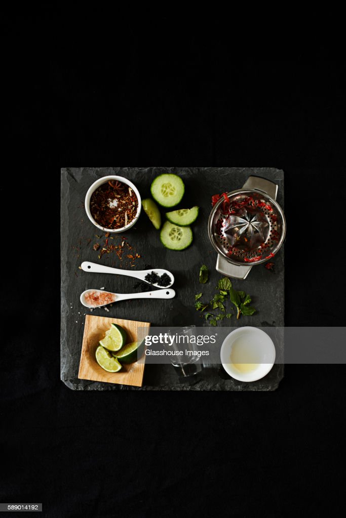 Messy Tray of Margarita Ingredients