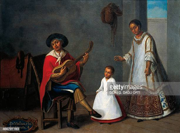 Mestizo man Indian woman and their mixed race son painting on the theme of miscegenation Mexico 18th century