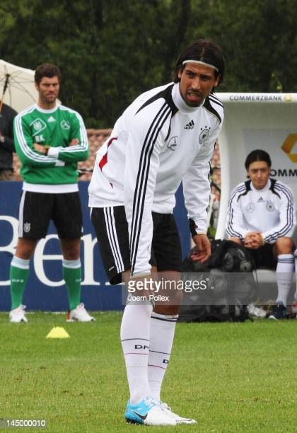 Mesut Oezil and Sami Khedira are seen during a Germany training session at Stadium Tourrettes on May 22 2012 in Tourrettes Sur Loup France