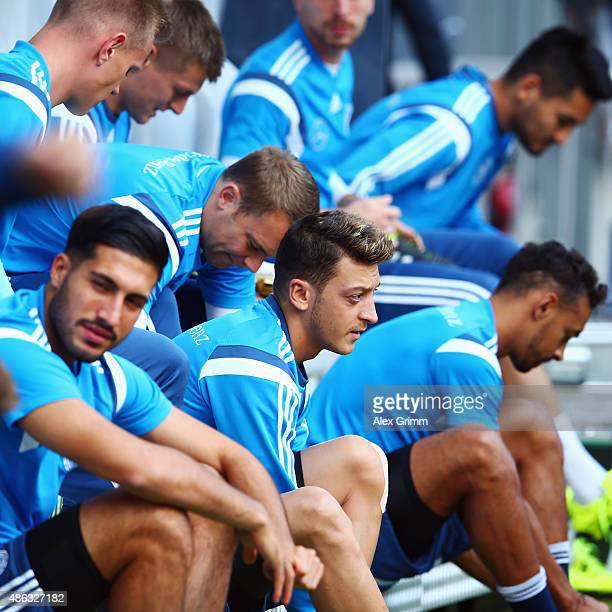 Mesut Oezil and team mates prepare for a Germany training session at CommerzbankArena on September 3 2015 in Frankfurt am Main Germany