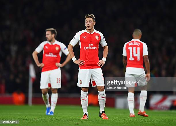 Mesut Oezil of Arsenal reacts during the UEFA Champions League Group F match between Arsenal FC and FC Bayern Munchen at Emirates Stadium on October...