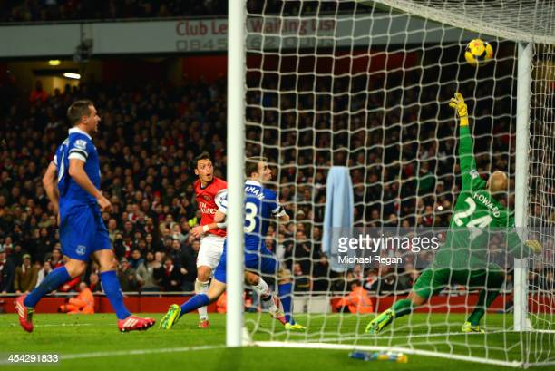 Mesut Oezil of Arsenal scores their first goal past Tim Howard of Everton during the Barclays Premier League match between Arsenal and Everton at...