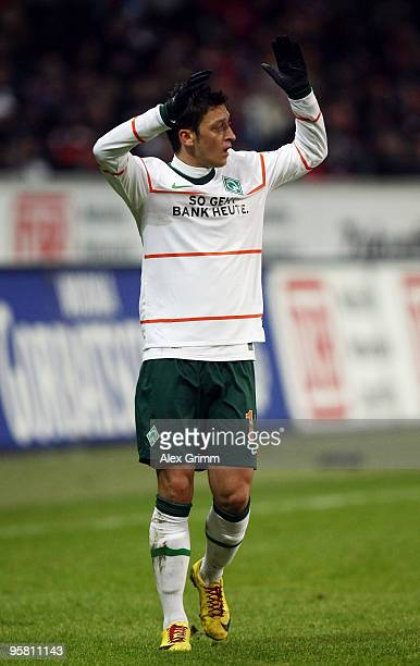Mesut Oezil of Bremen reacts during the Bundesliga match between Eintracht Frankfurt and Werder Bremen at the Commerzbank Arena on January 16 2010 in...